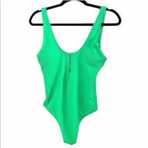 NWOT AE bright green scoop one piece swimsuit